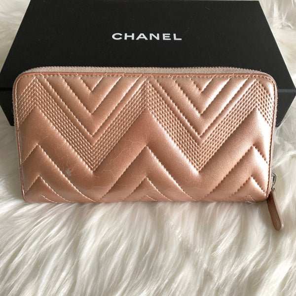 CHANEL ZIPPY WALLET METALLIC ROSE PINK (22880831)