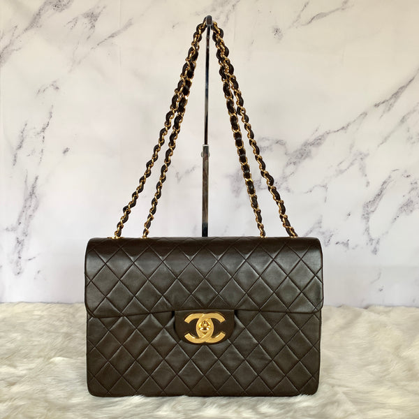 CHANEL JUMBO SINGLE FLAP BROWN VINTAGE