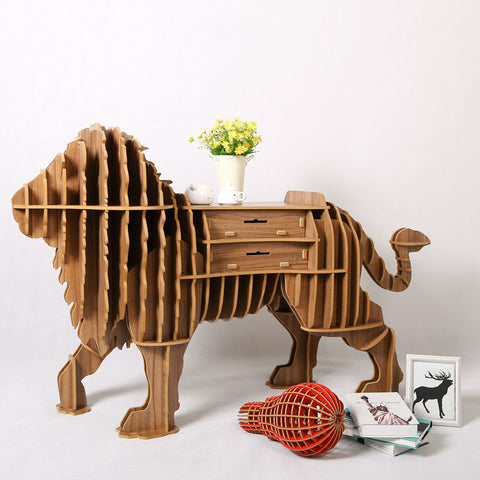 Creative Wood High-End Lion Desk Above the Floor