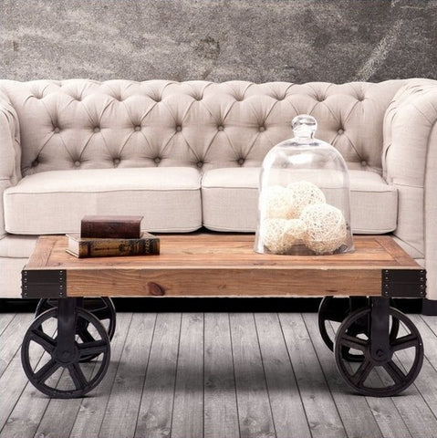 The Rustic Wagon Wood and Iron Coffee Table - Above The Floor