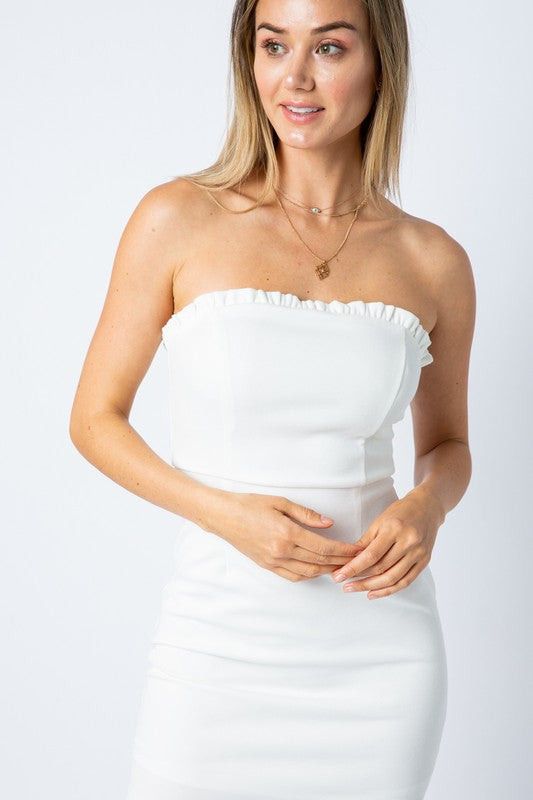 Styled - white strapless dress