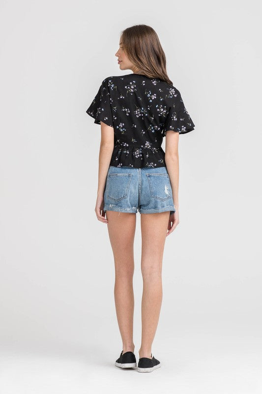 Styled - front knot floral top