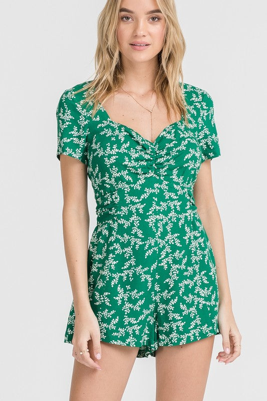 Styled - green leaves romper