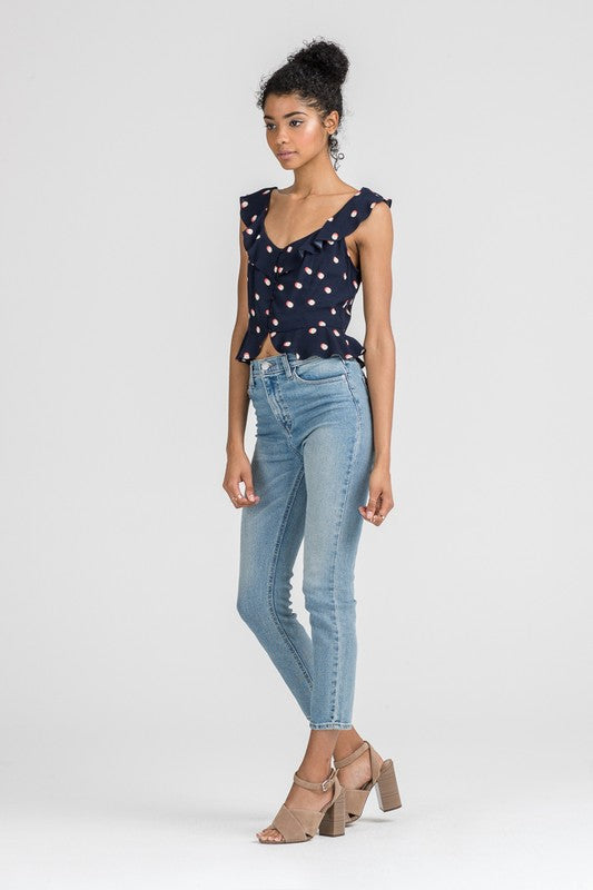 Styled - navy dots top