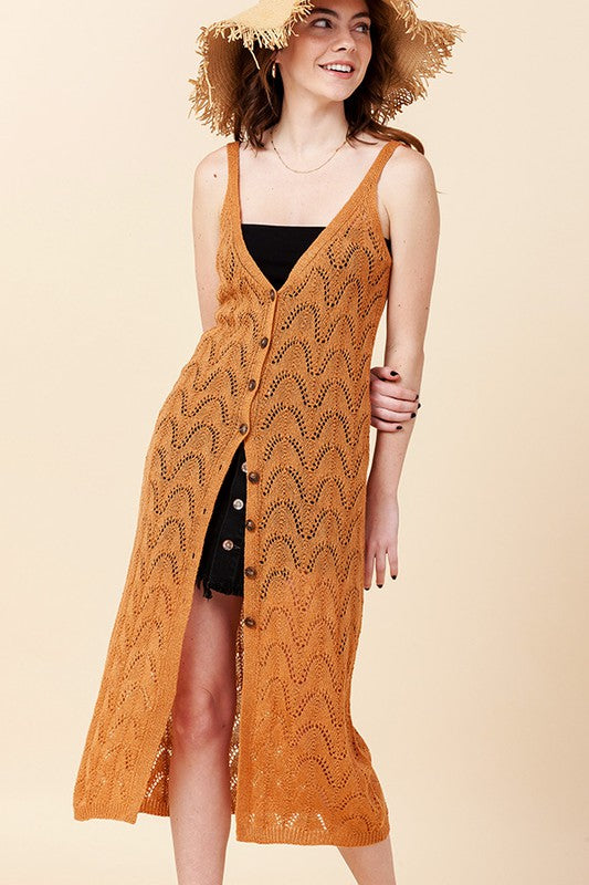 Styled - apricot crochet coverup