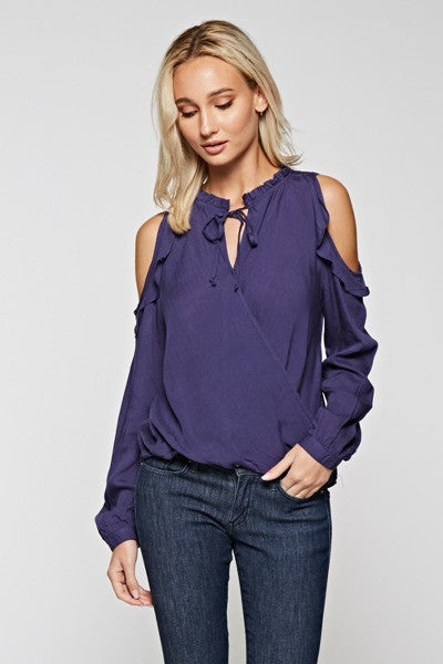 Styled - blue ruffled cold shoulder blouse