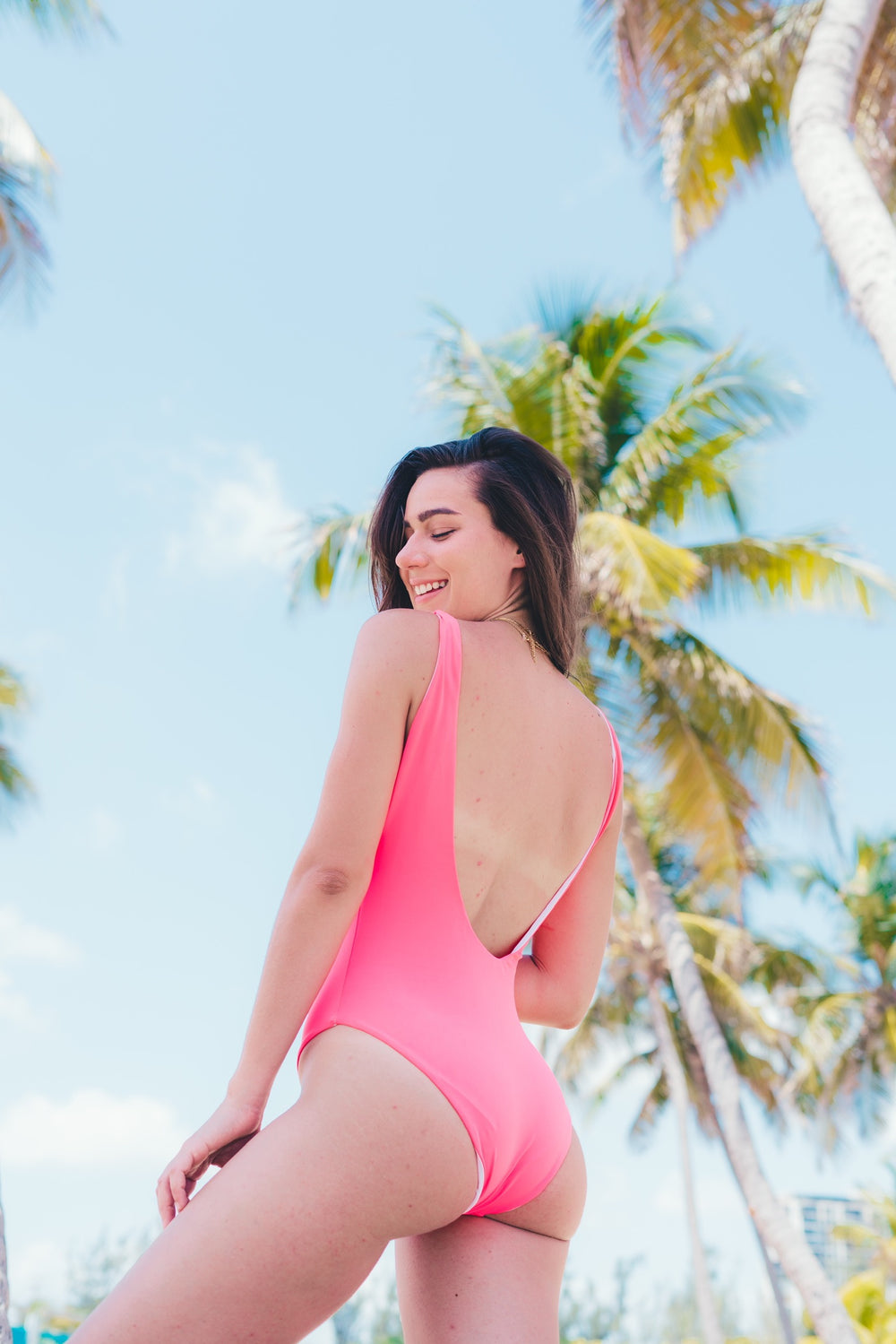 Alya low back - neon coral