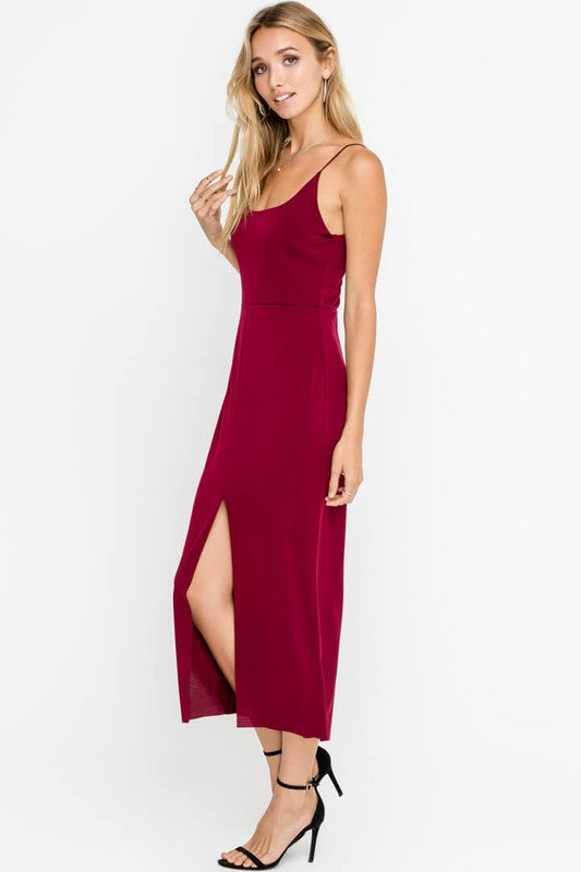 Styled - burgundy midi dress