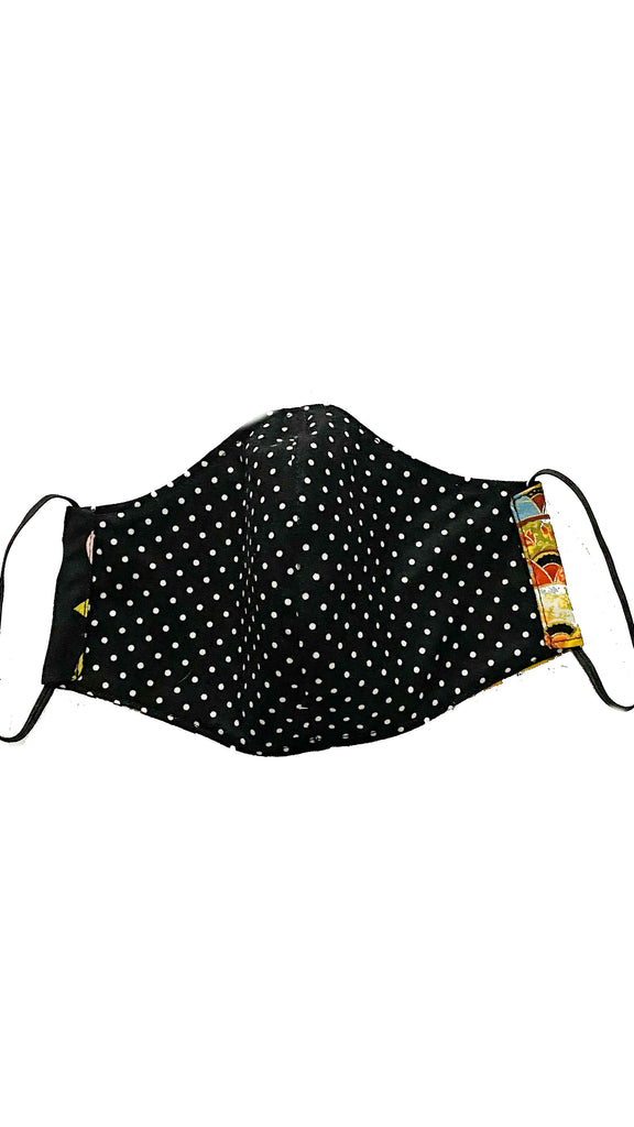 face mask - chinese fans-black florals/black polka dots