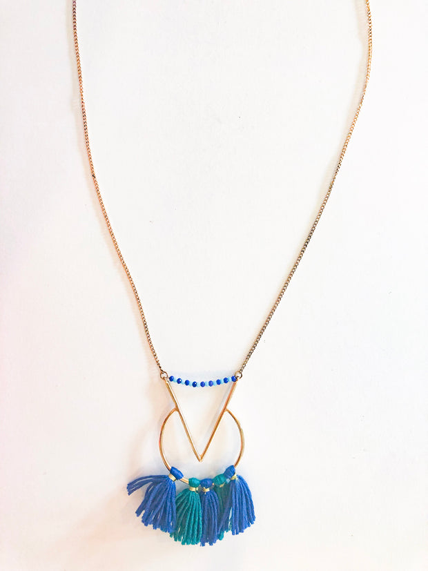 Blue tassels long necklace