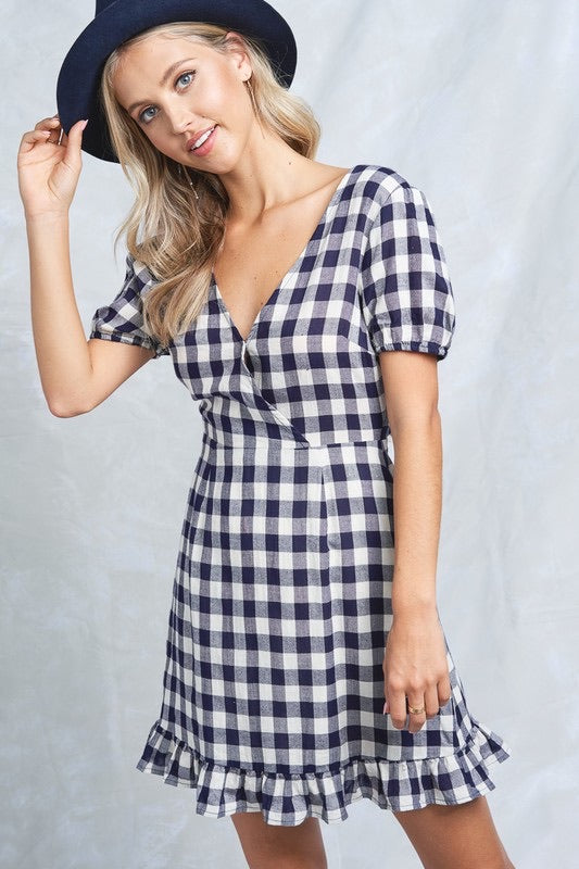 Styled - navy gingham dress