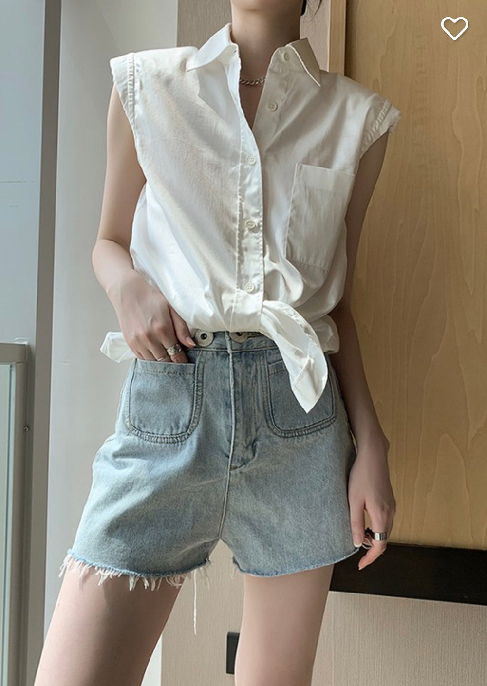 Styled - button down shoulder pad white top