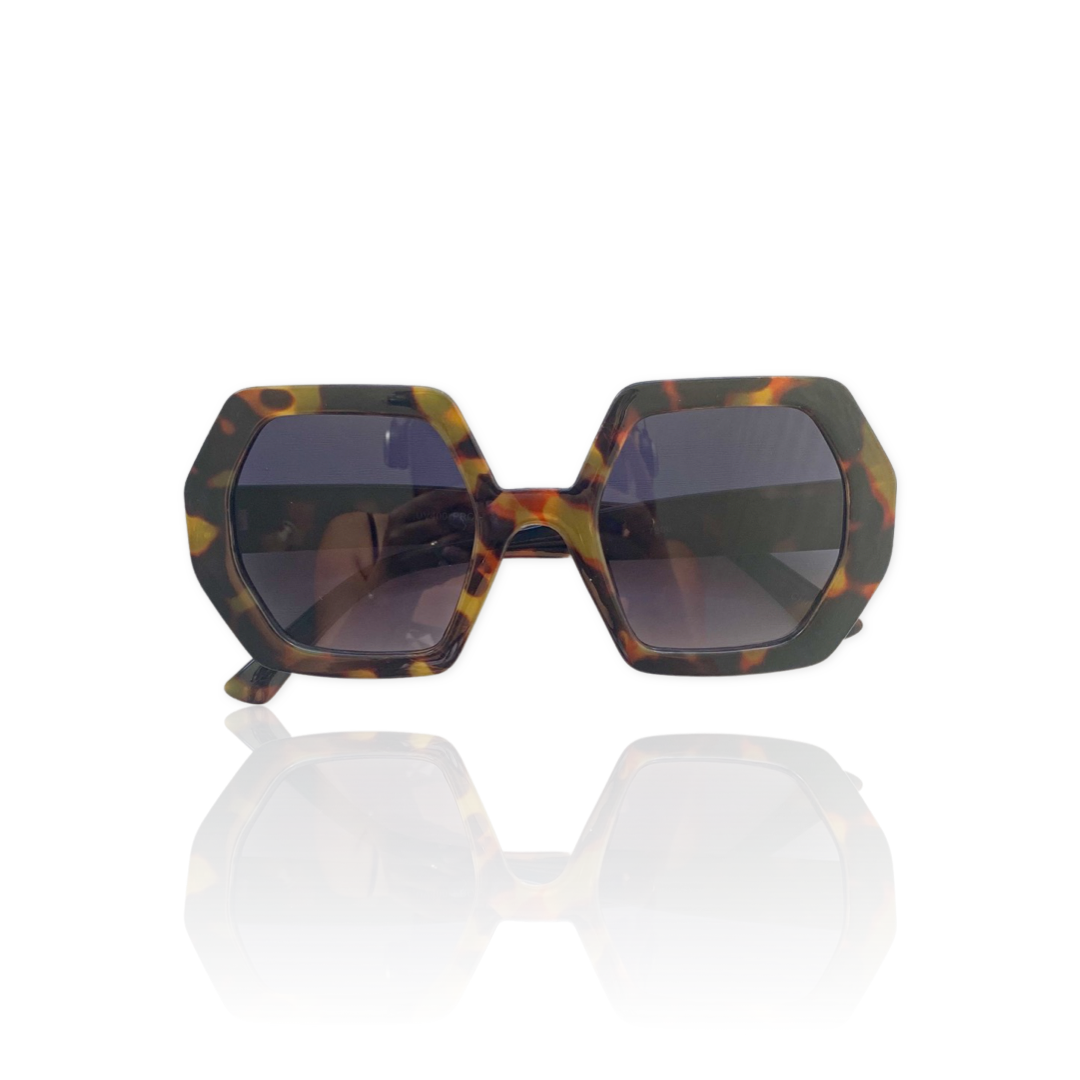 chunky hexagonal tortoise sunglasses
