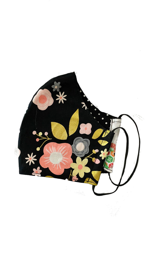 face mask - black floral-chinese dolls/polka dots
