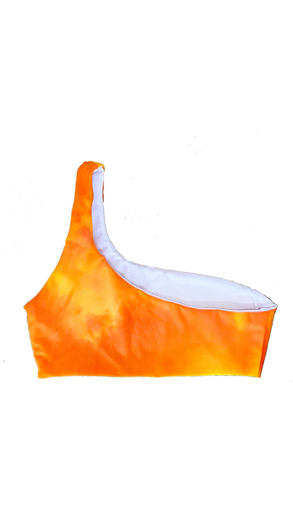 Alula one shoulder top - tie dye orange