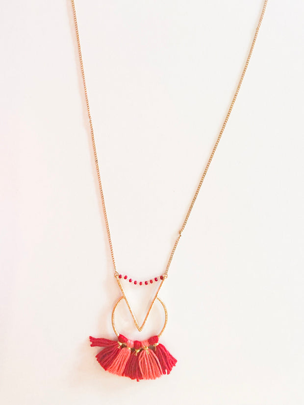 Red tassels long necklace