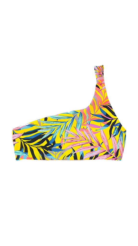 Alula one shoulder top - yellow tropical