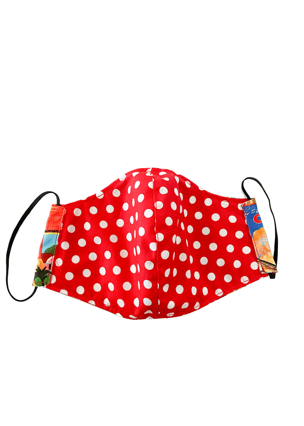 face mask - postcards/red polka dots