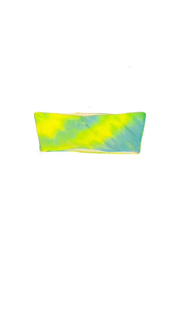 Alula tube top - tie dye green, blue & yellow