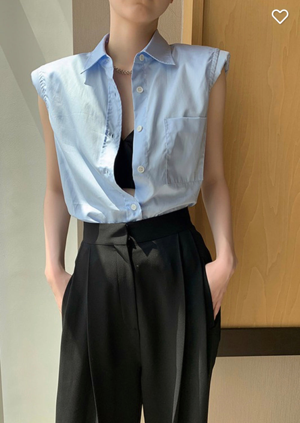 Styled - button down shoulder pad blue top