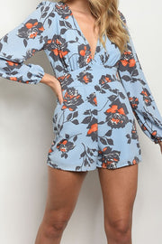 Styled - blue flowers romper