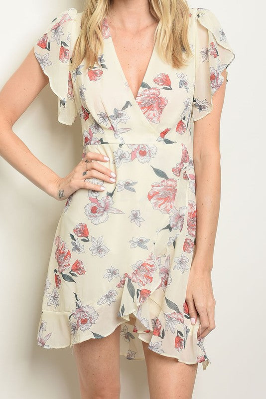 Styled - floral cream dress