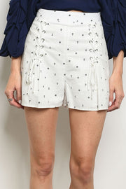 Styled - white nautical shorts