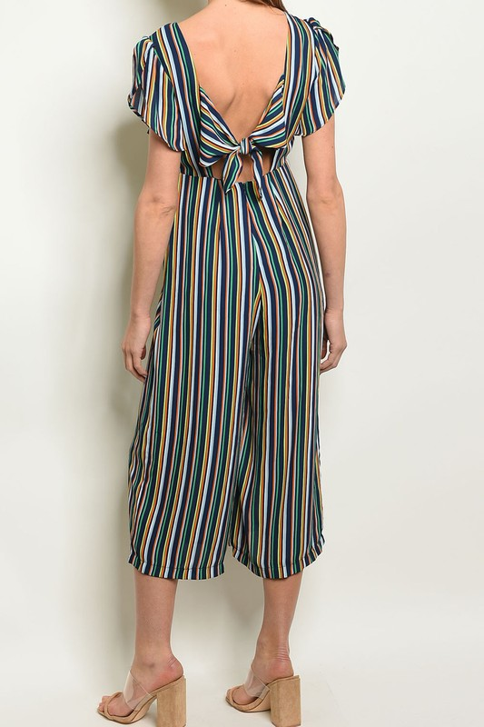 Styled - navy striped jumpsuit