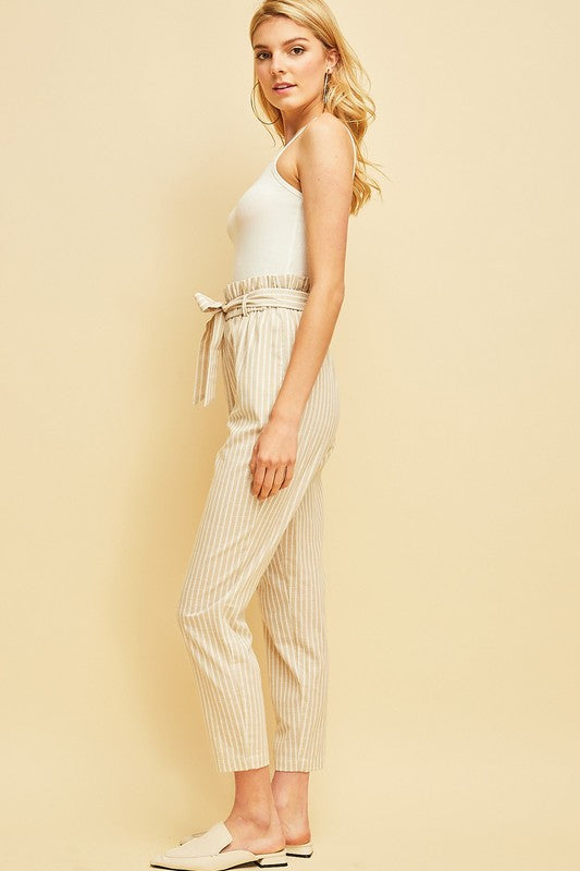 Styled - oatmeal pin striped pants