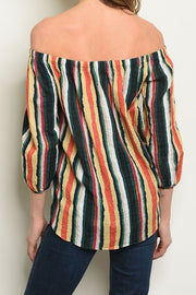 Styled - off-shoulder stripes top