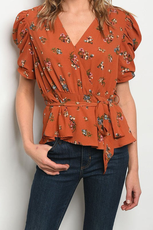 Styled - floral v-neck puff sleeve top