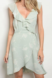 Styled - sage wrap around dress
