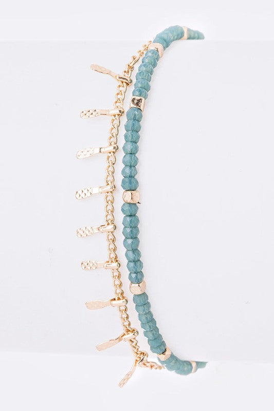 Styled - turquoise crystals beaded adjustable bracelet