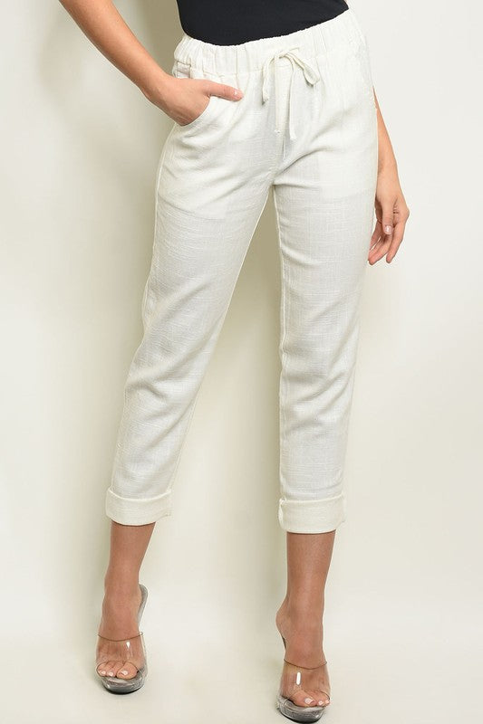 Styled - white cropped pant