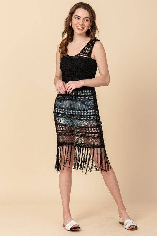 Styled - black crochet coverup