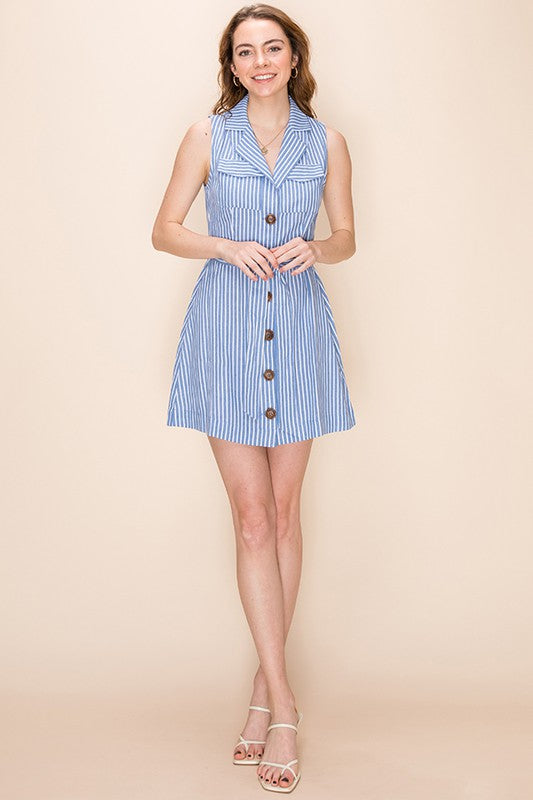 Styled - button down shirt style blue dress