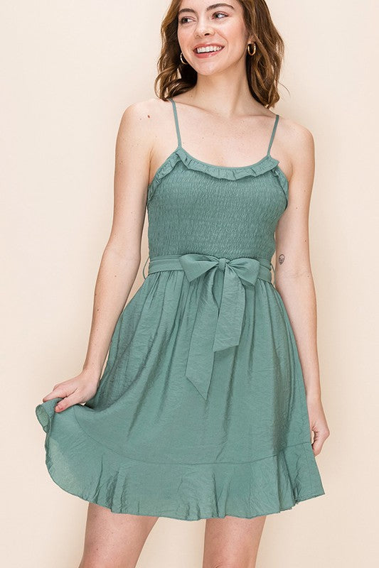 Styled - green ruffles dress