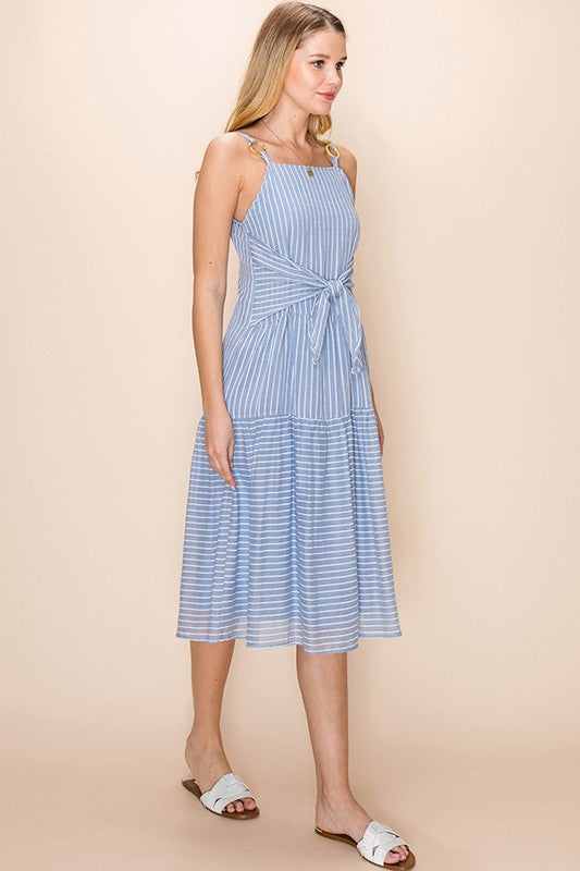 Styled - light blue stripes midi dress