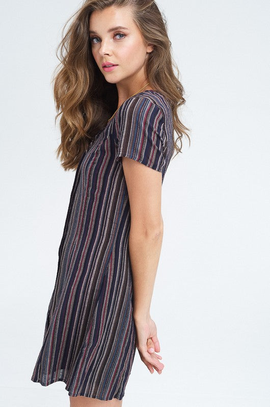 Styled - blue striped button down dress