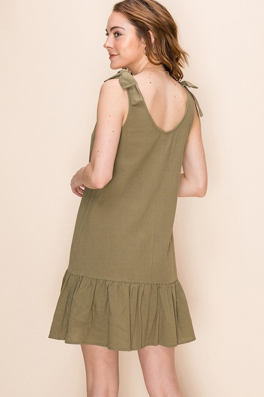 Styled - olive ruffles dress