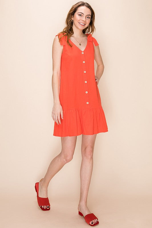 Styled - red ruffles dress