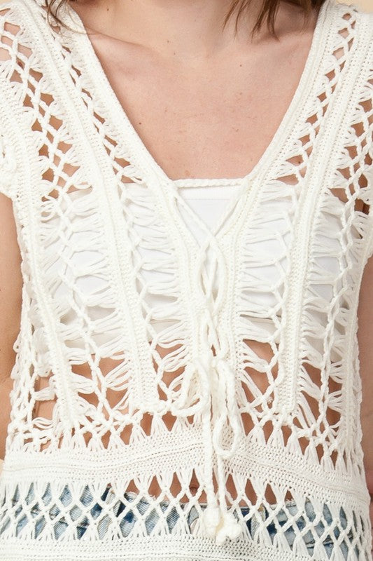 Styled - white crochet coverup