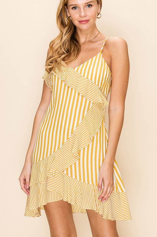 Styled - yellow stripes ruffles dress