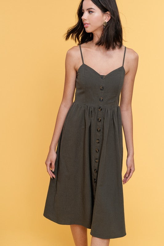 Styled - forest green midi dress