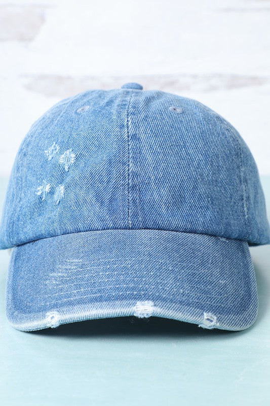 Styled - distressed light denim cap