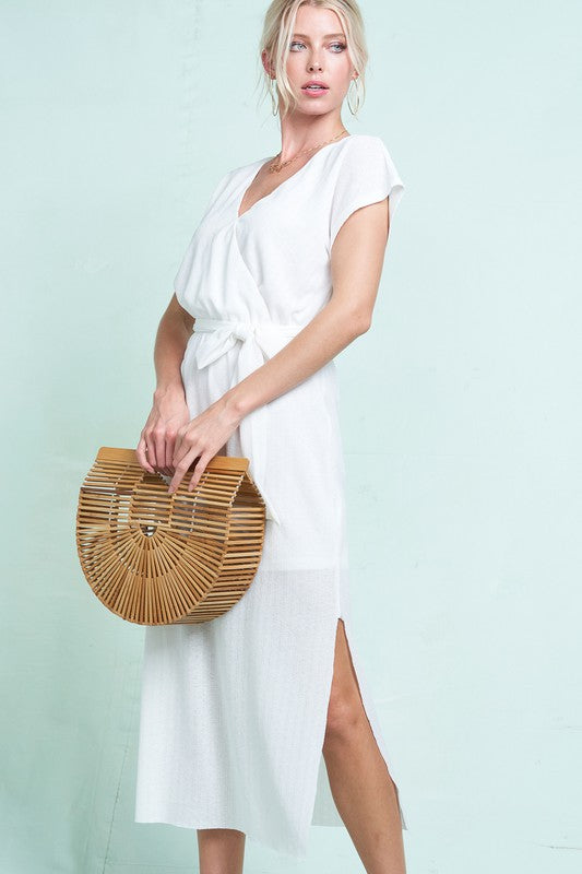 Styled - ivory ribbed midi dress