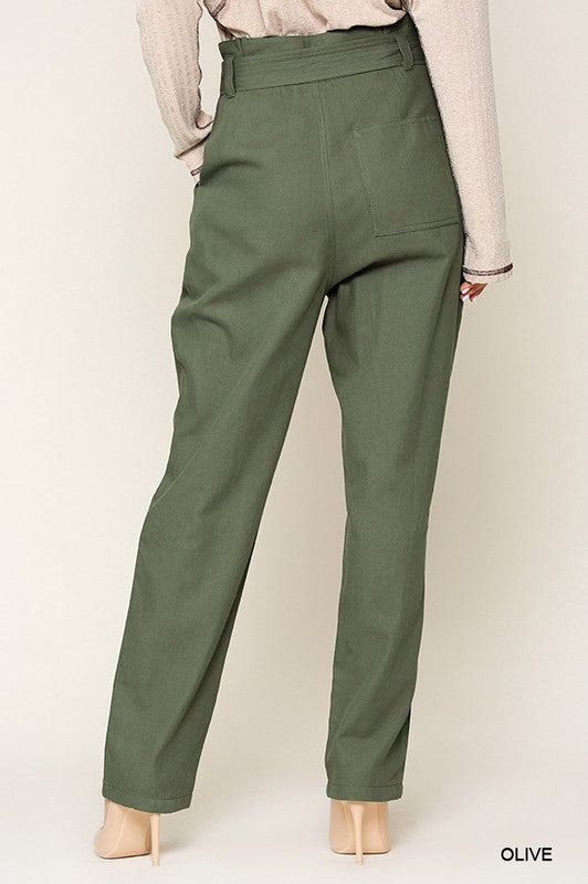 Styled - olive paper bag pant
