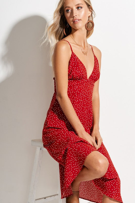 Styled - red polka dot midi dress