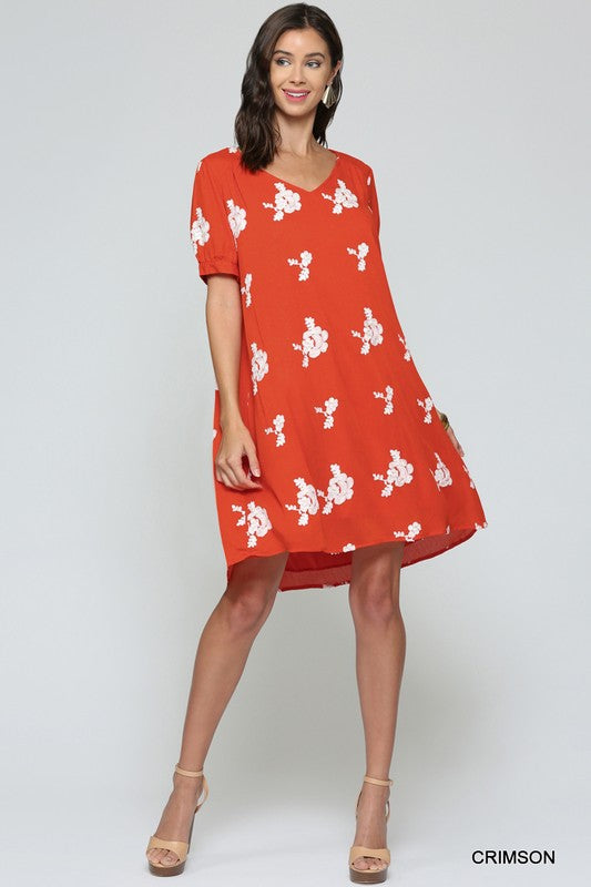 Styled - red floral dress
