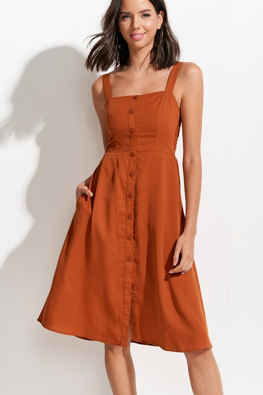 Styled - terracota button down dress